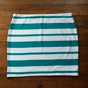 Loft xl stretch teal and white striped skirt